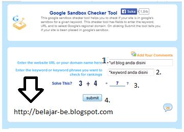 Cara mengecek blog apakah masuk google sandbox for Input keyword disini perbaris ya