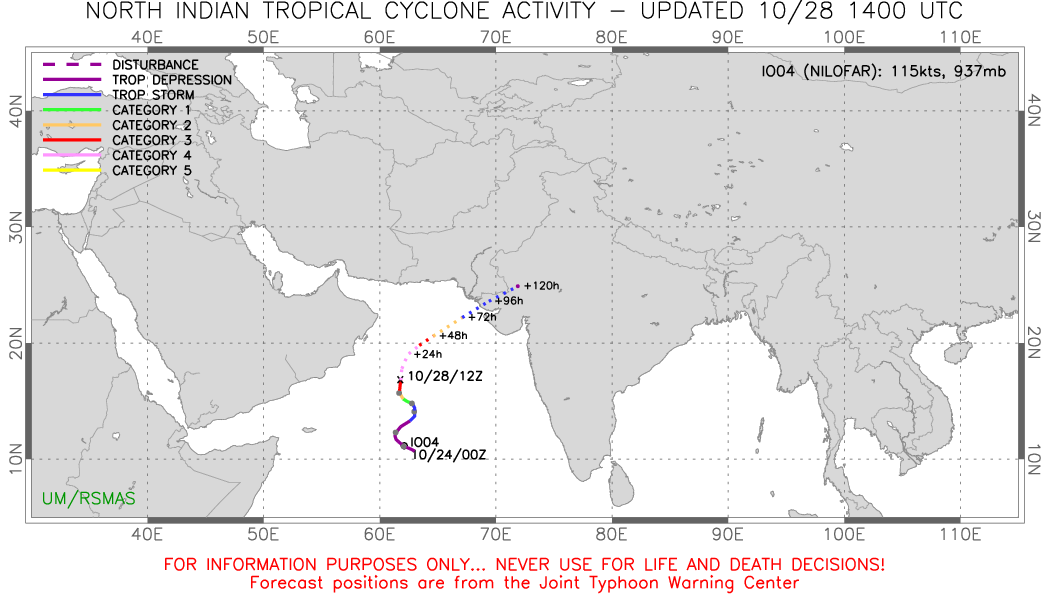 Cyclone Nilofar: l'intensification se poursuit