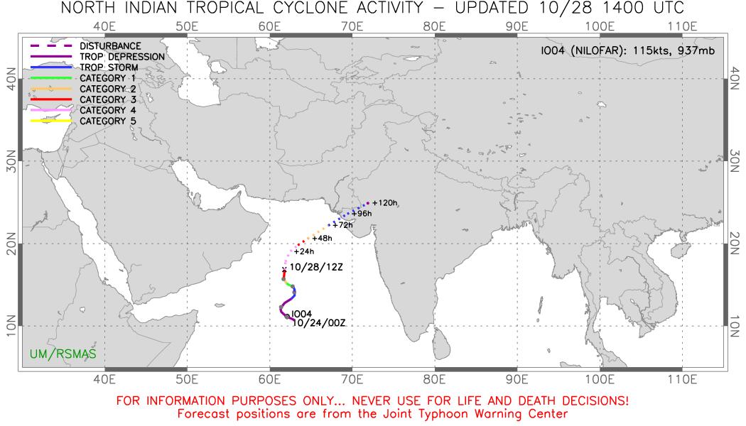 Cyclone Nilofar: l'intensification se poursuit