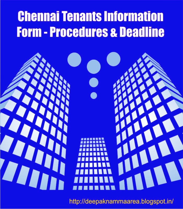 Chennai Tenants Information Form  Procedures  Deadline  Namma