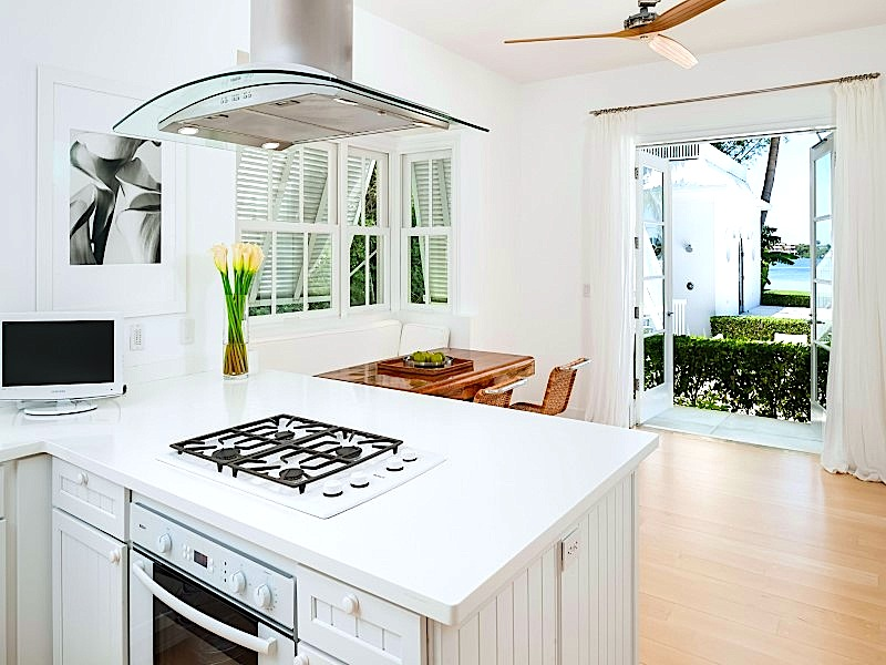 Contemporary kitchen with a glass hood