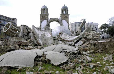 Ruins of the Serbian Orthodox Cathedral of the Holy Trinity in Djakovica destroyed by ethnic Albanians in July 1999
