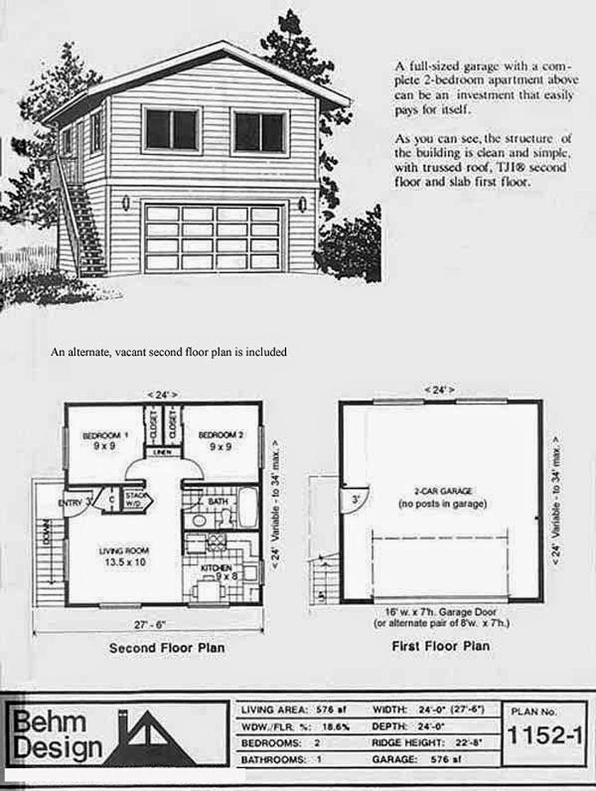 Garage plans blog behm design garage plan examples for Two story garage apartment plans