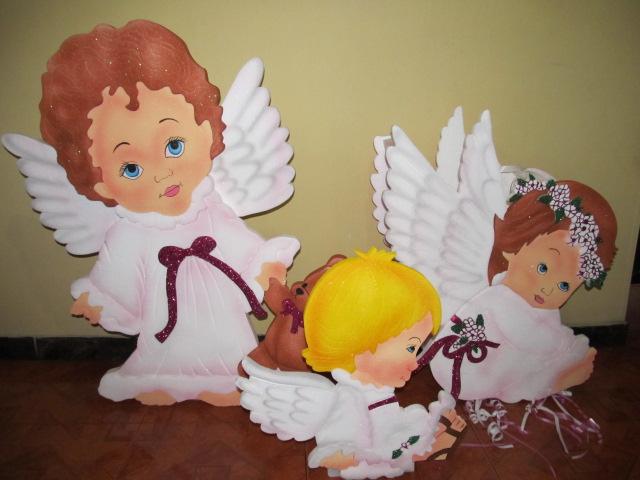 DECORACION CON ANGELES EN ICOPOR PARA FIESTAS DE PRIMERA COMUNION ...