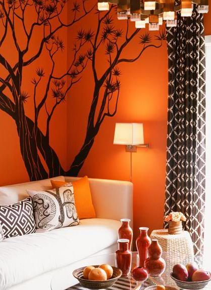 continuación una galería de fotos de salas con paredes naranjas
