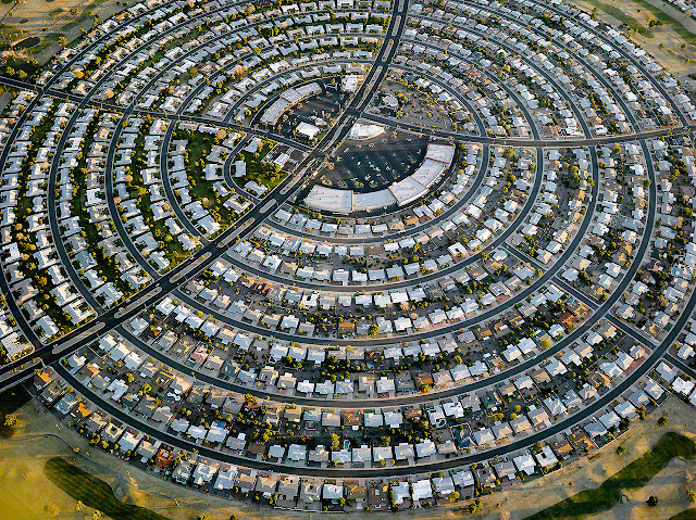 suburban neighborhood in a circle