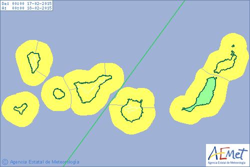 Alerta amarilla viento Canarias 17  febrero