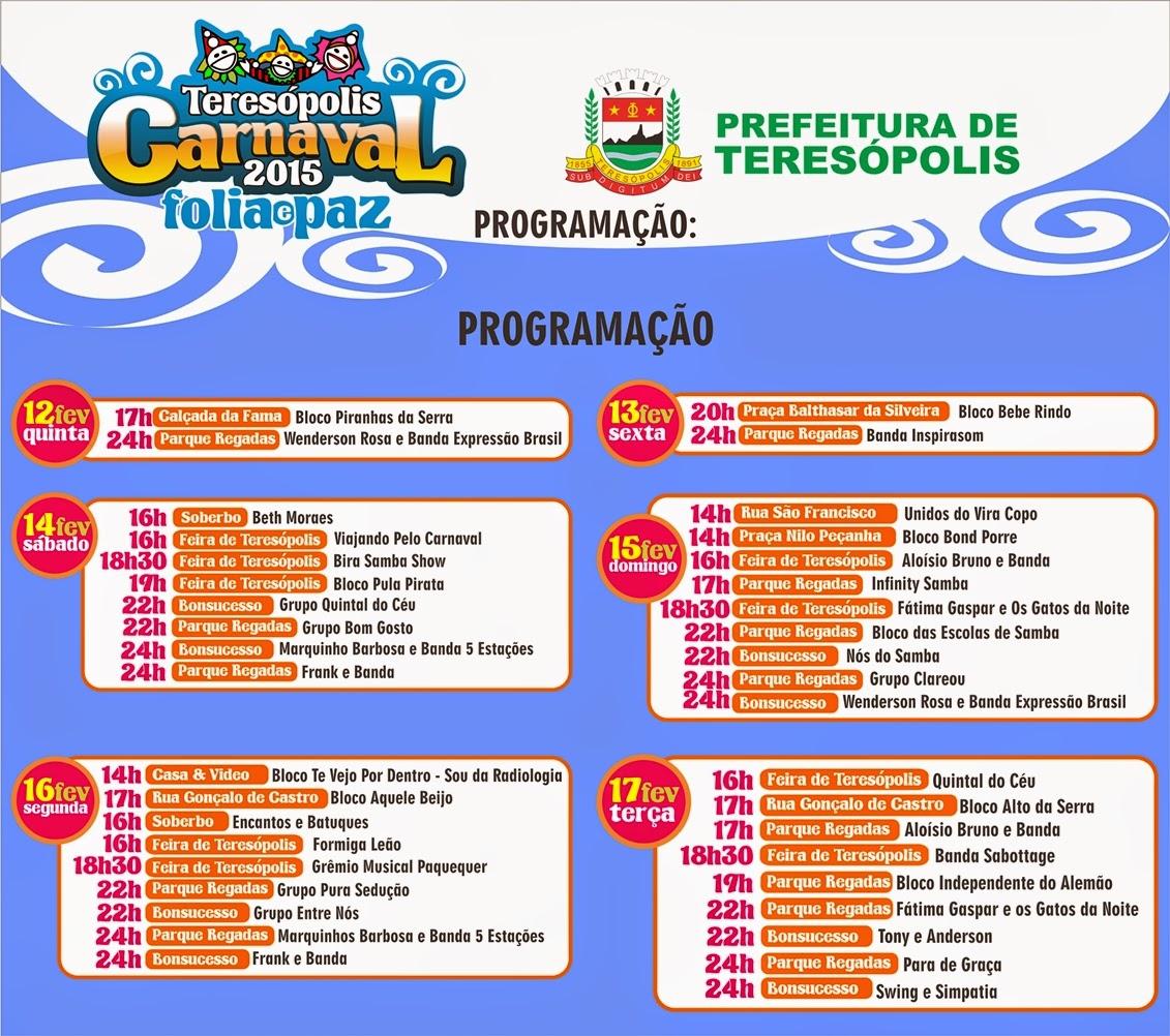 Programação Completa do Carnaval 2015 em Teresópolis - Terê Total o site cultural da cidade!