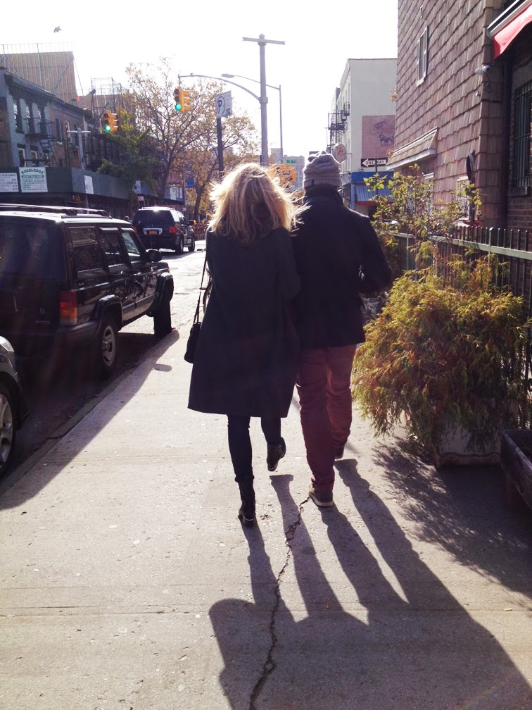 Romance couple walking Brooklyn fall time