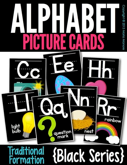 Alphabet Picture Cards Traditional Black Series