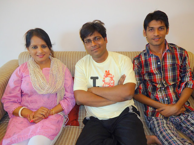 Anshu Dikshant with Bhojpuri Actress Sangita Tiwari and Poet/Film Critic Manoj Bhawuk