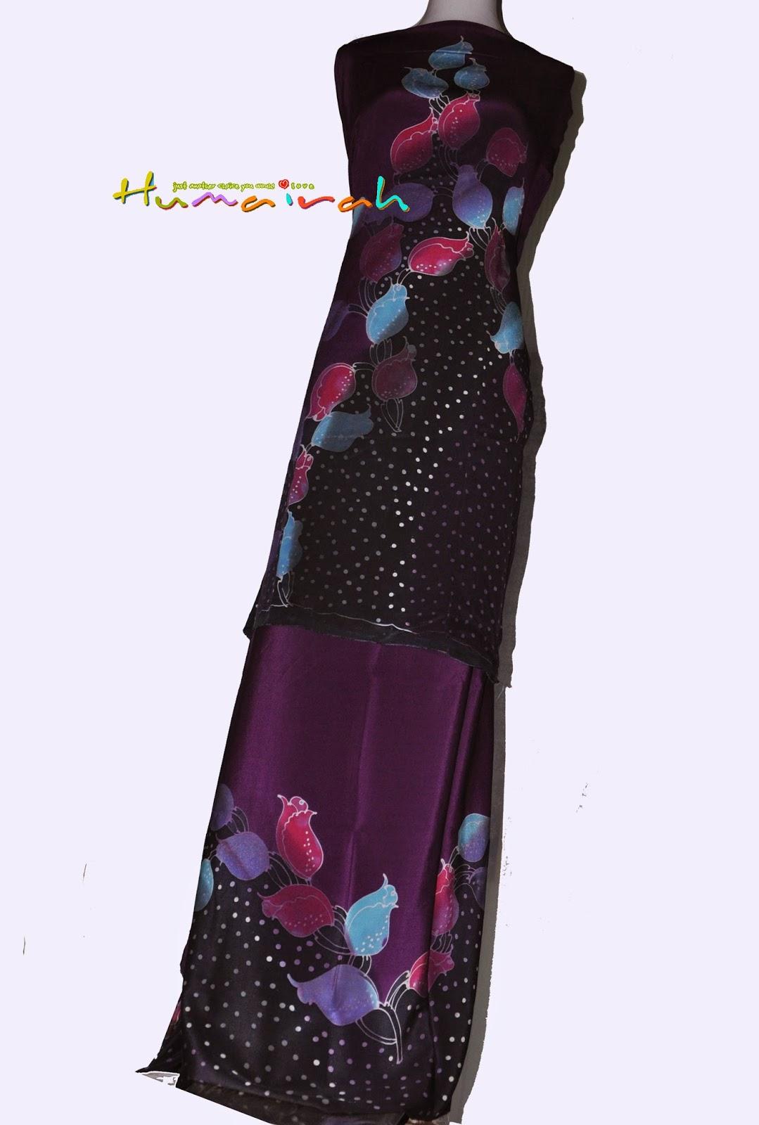 CX87 Batik Sutera Exclusive - Bunga Mawar Purple dan Hitam 5