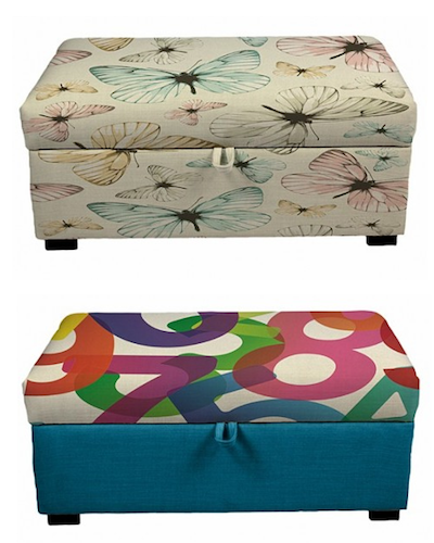 two patterned storage ottomans, one with butterflies