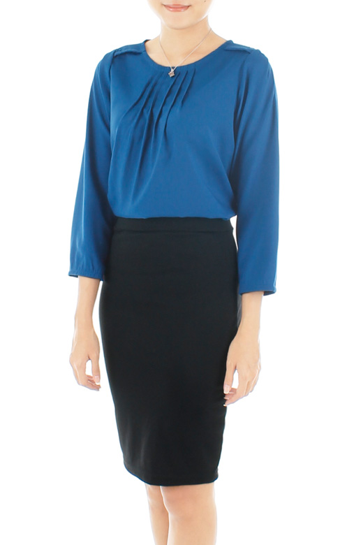 Pretty Pleat Work Blouse - Azure Blue