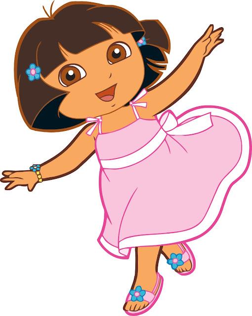 Desenho Dora a Aventureira de vestido colorido
