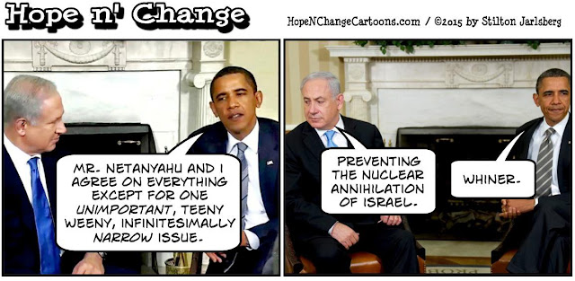 obama, obama jokes, political, humor, cartoon, conservative, hope n' change, hope and change, stilton jarlsberg, iran, israel, nuclear, deal, netanyahu
