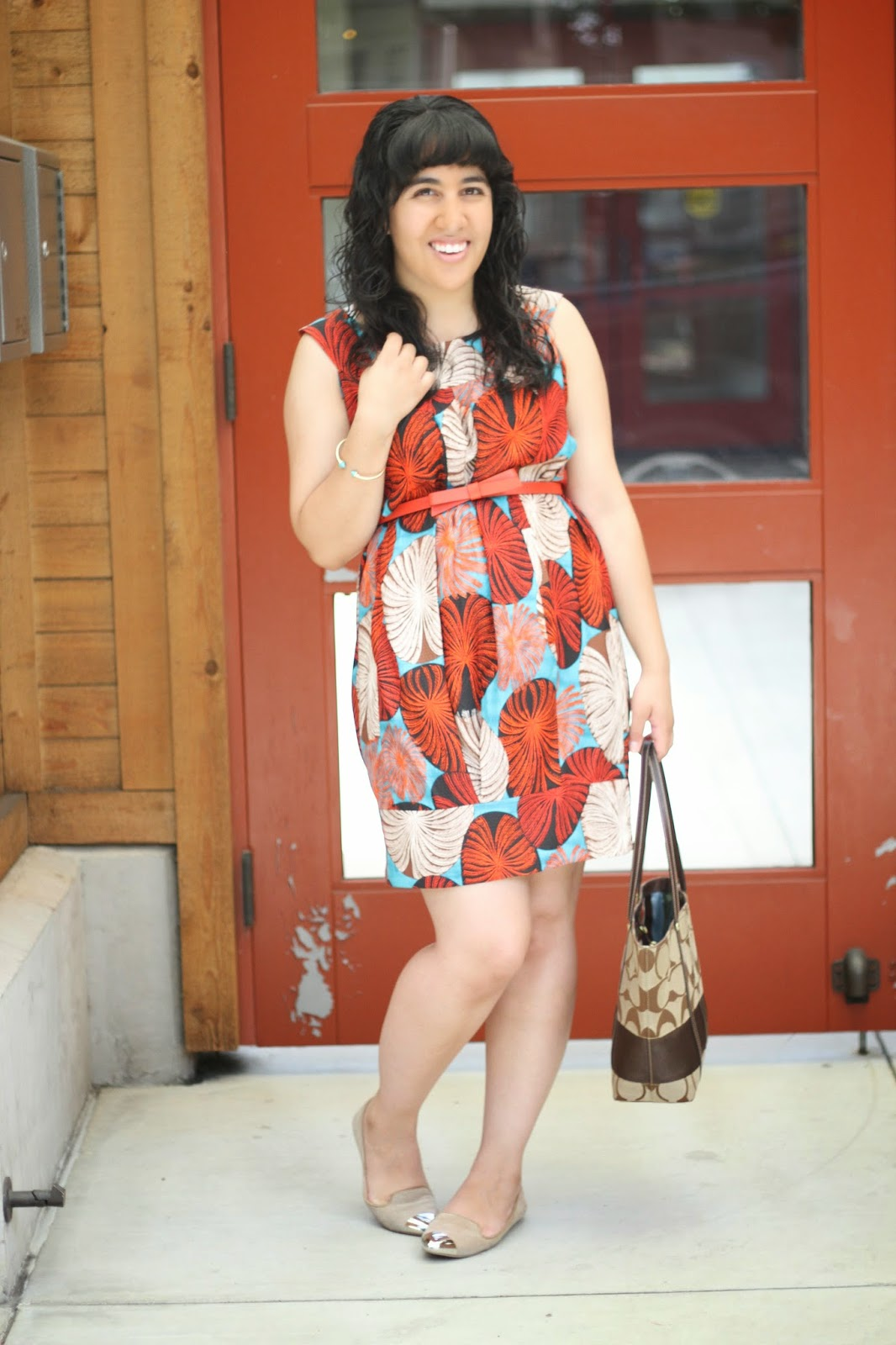 Orange and Turquoise Print Dress