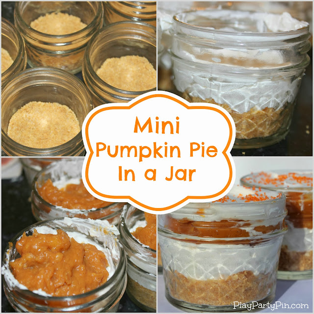 Mini Pumpkin Pie in a Jar from playpartypin.com #pumpkin #pie #thanksgiving #jar