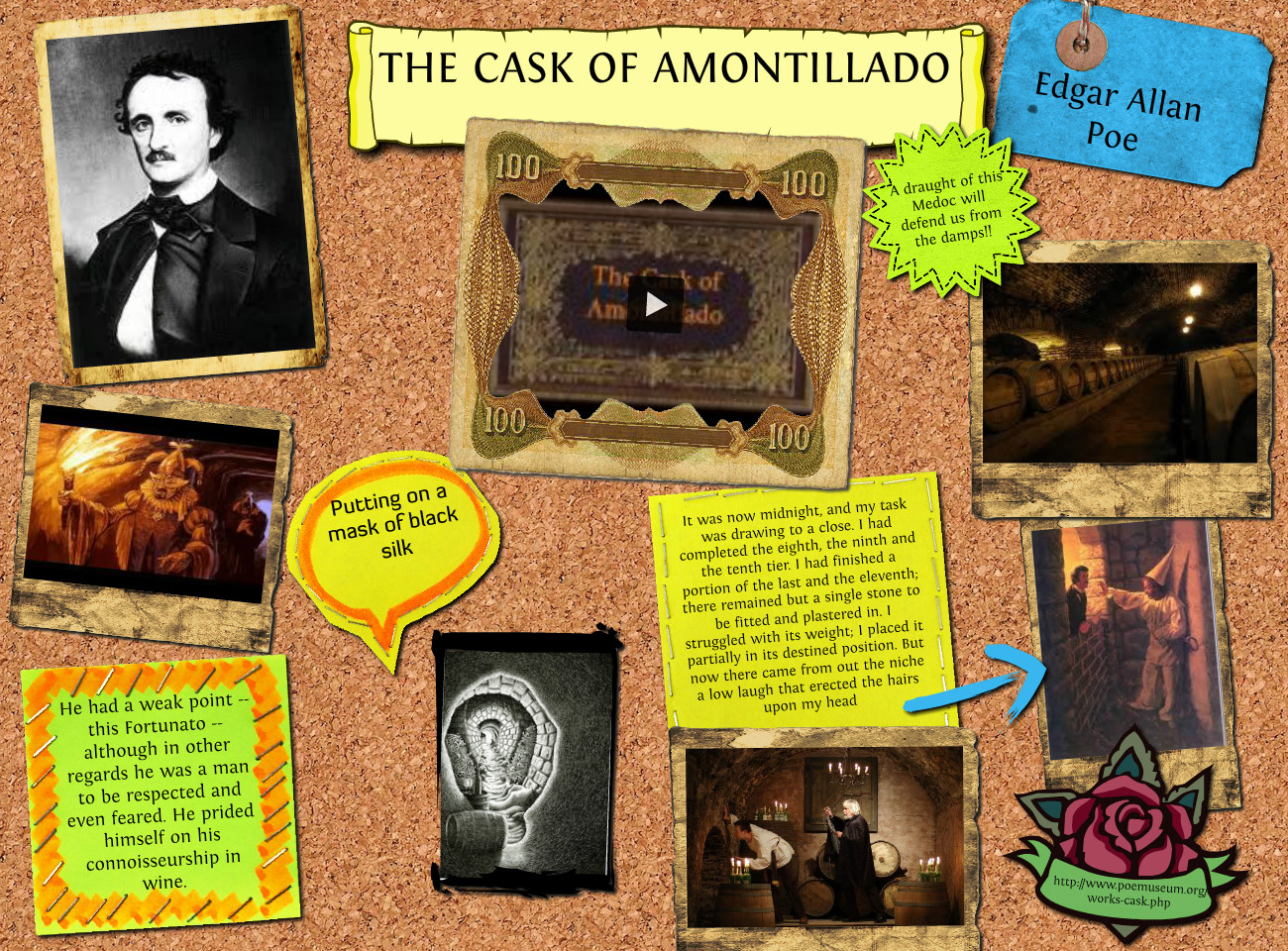 conclusion on the cask of amontillado The cask of amontillado is a very dark and macabre story that tells the reader that revenge can make people do horrible things they might regret edgar allan poe is considered to be the father of southern gothic and has influenced many writers.