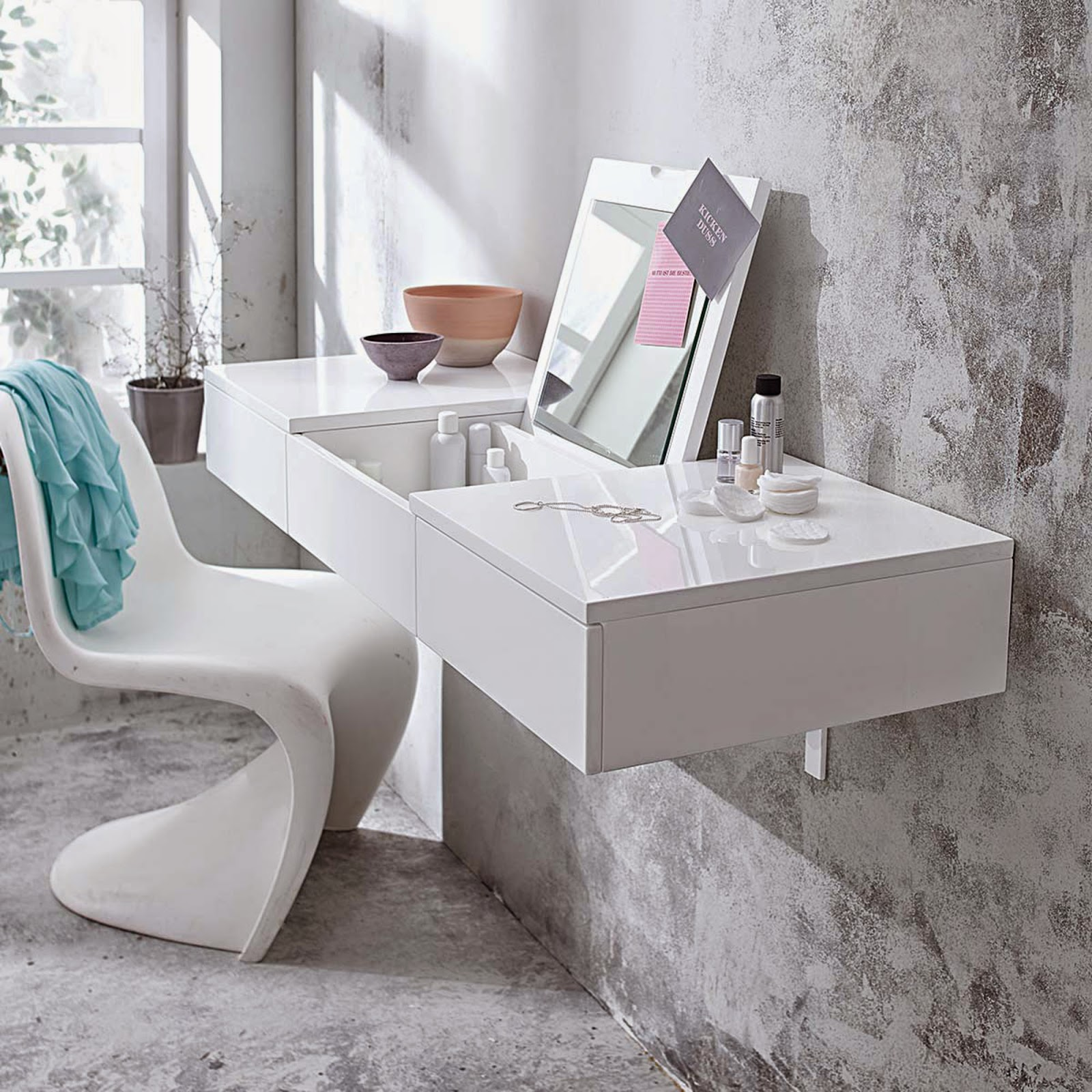 Wall mounted dressing table designs for bedroom - Wall Mounted Modern White Dressing Table Ideas With Folding Mirror