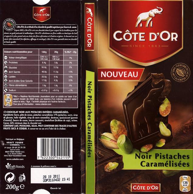 tablette de chocolat noir gourmand côte d'or noir pistaches caramélisées