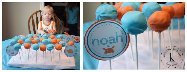 Fish-themed birthday party cake pops | kreations by kristy