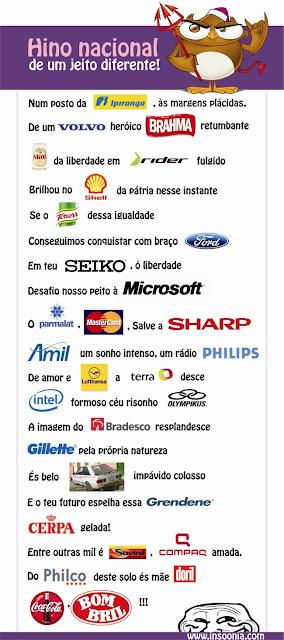 hino nacional, corporações, marcas