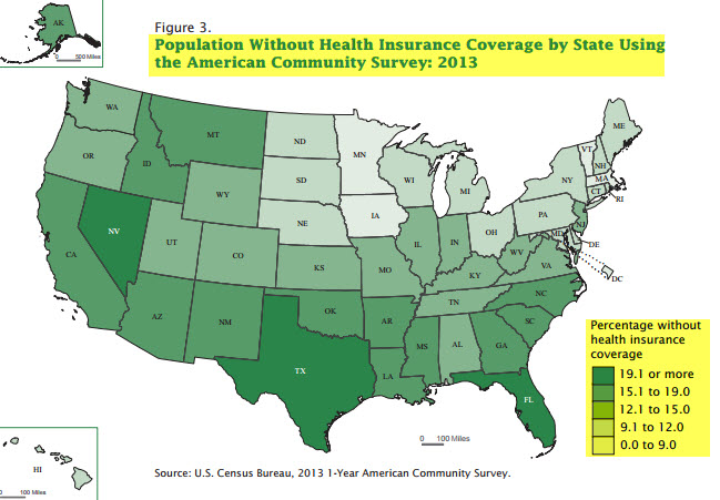 """US community without and with health insurance"""