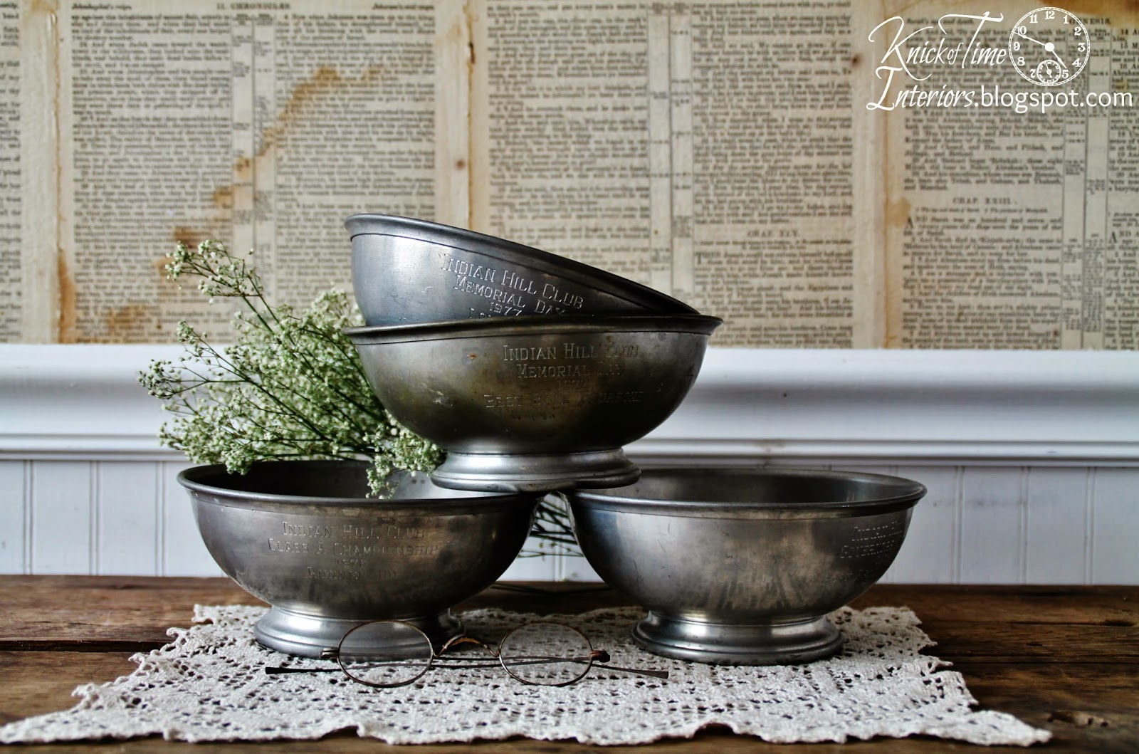 Vintage Trophy Award Pewter Bowls available from Knick of Time