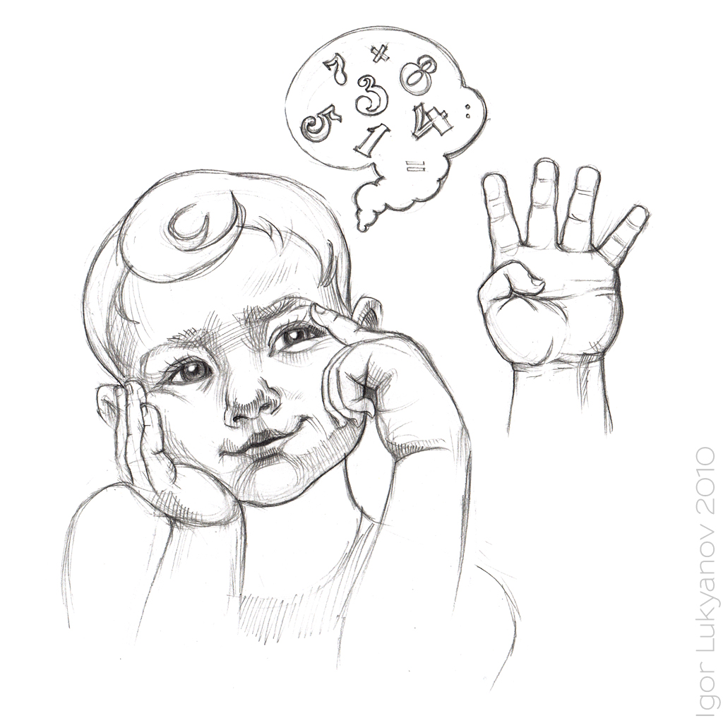 A thinking child pencil sketch drawing of a boy