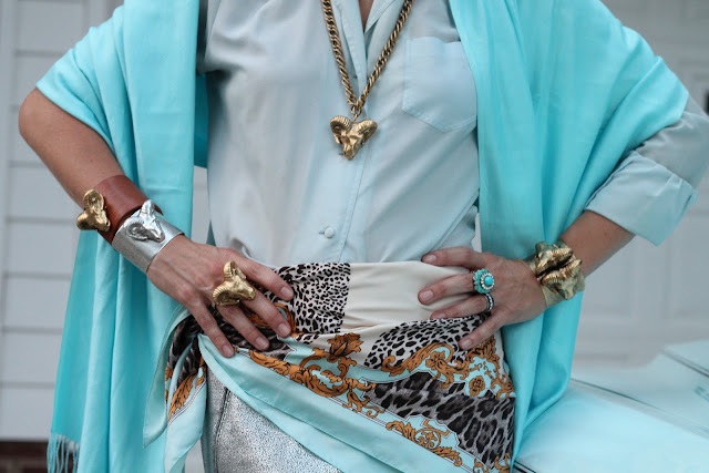 Melvin Ram Jewelry, the Queen City Style, Cole Haan Air Mirella Sandals, Gap Skirt, Great-Grandmother's Blouse, Wrap from Belk, H&M Scarf