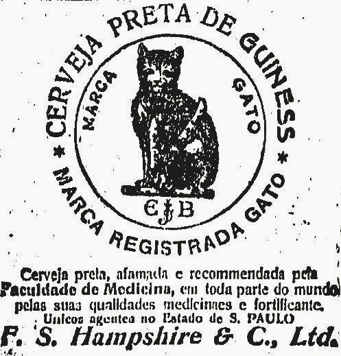 Propaganda da Cerveja Guiness recomendada pela Faculdade de Medicina em 1889.
