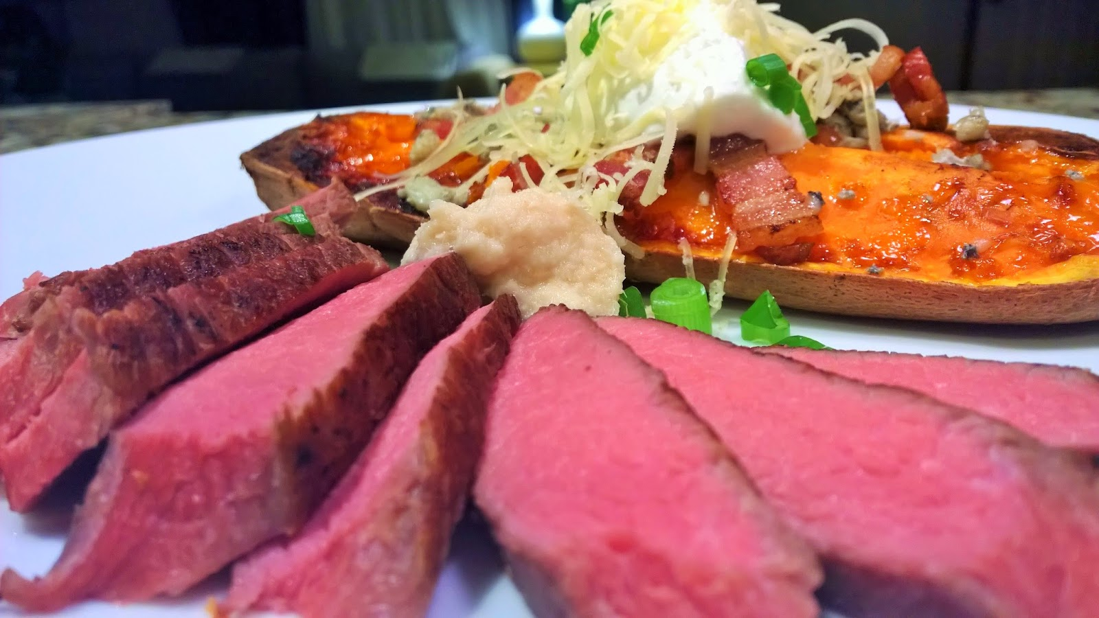 Sous Vide Grassfed Sirloin Steak w/ Loaded Baked Sweet Potato