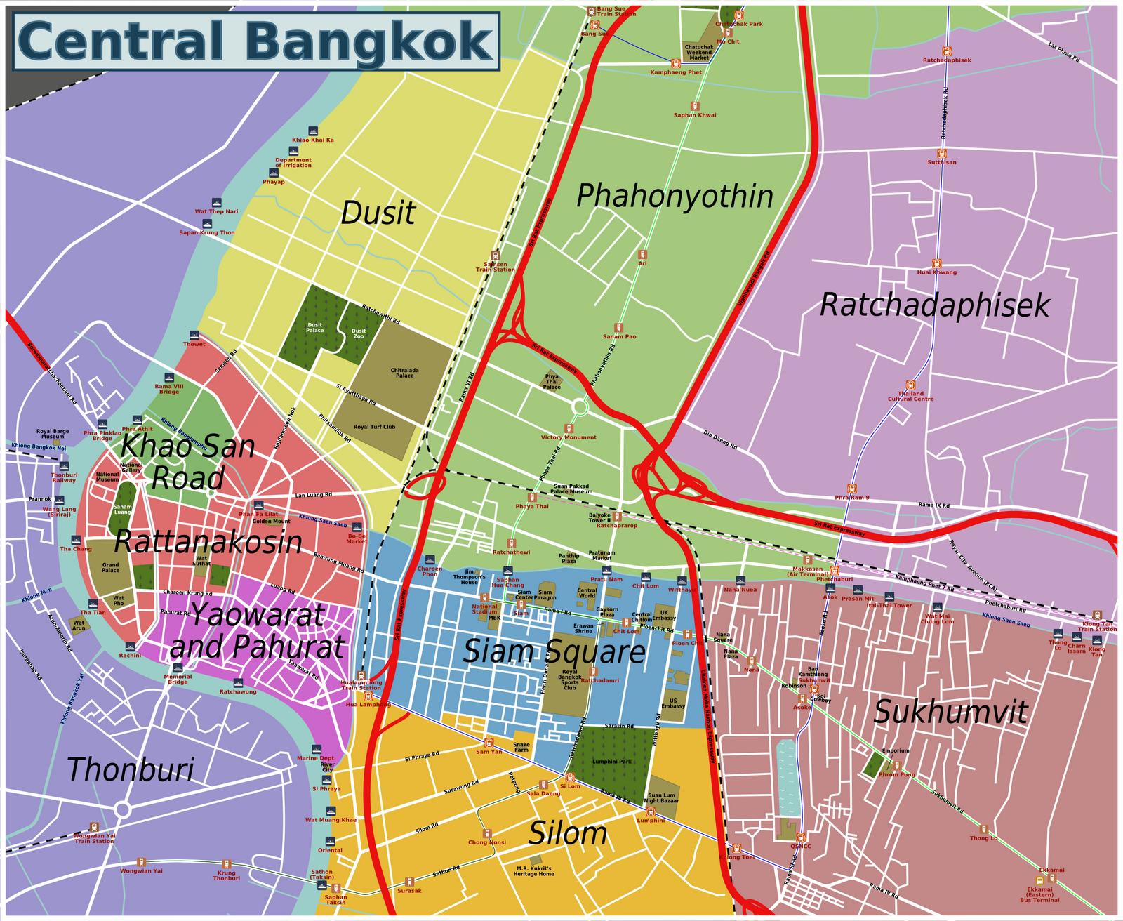 Bangkok Area Guide – Maps Of Bangkok For Tourists