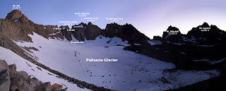 Mt. Sill, Polemonium Peak, North Palisade, Starlight Peak, Thunderbolt Peak, Mt. Winchell, Mt. Agassiz, and the Palisade Glacier