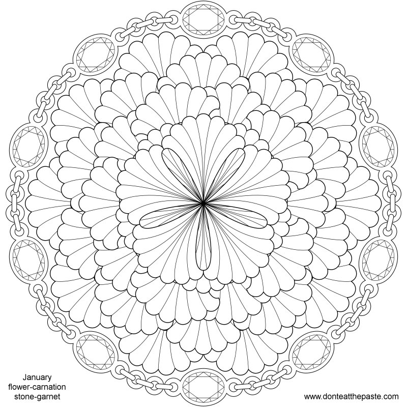 Don T Eat The Paste January Birthstone And Flower Mandala
