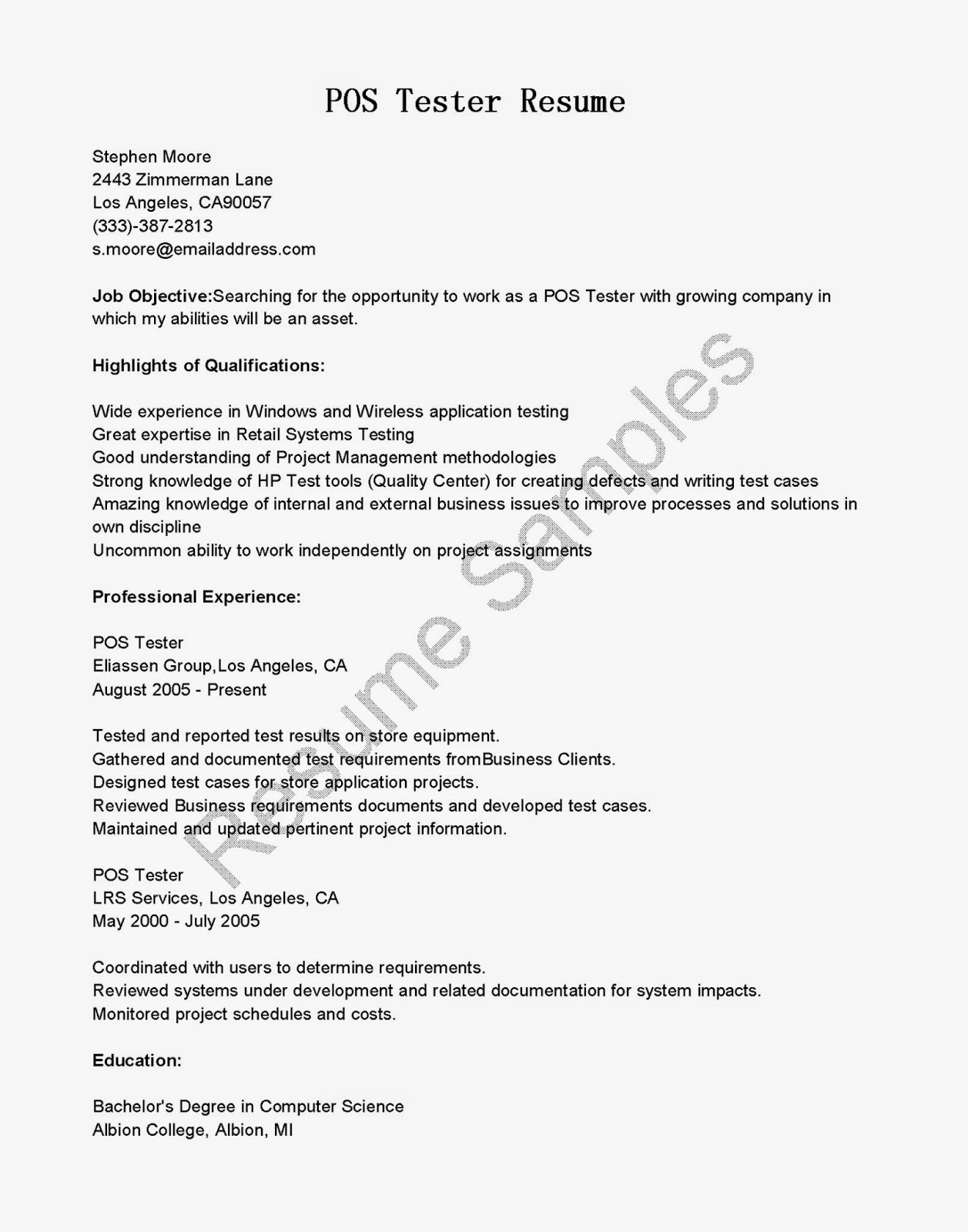 Manual Testing Sample Resume Manual Testing Experienced Resume Software  Sample Resumes
