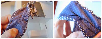 Cosiendo pespuntes de la prenda
