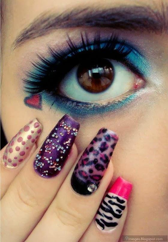 Girl makeup nail paint art stylish cute |