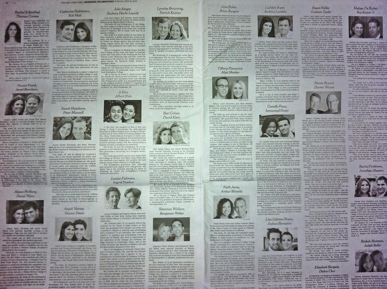 New York Times Weddings