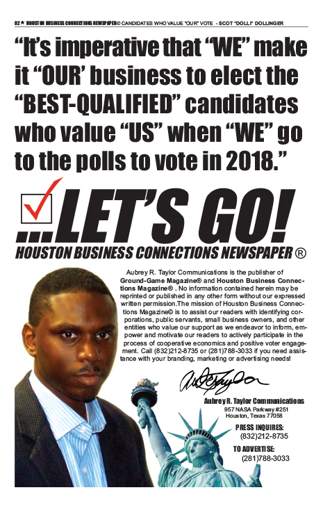 PAGE 2 - HOUSTON BUSINESS CONNECTIONS NEWSPAPER© RUNOFF ELECTION - PART 1 of 3