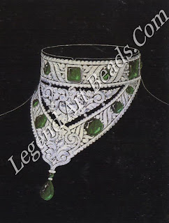 A design, reminiscent of the texture of heavy embroidery, for a maharaja's collar in diamonds, pearls and emeralds, by Chaumet c. 1925