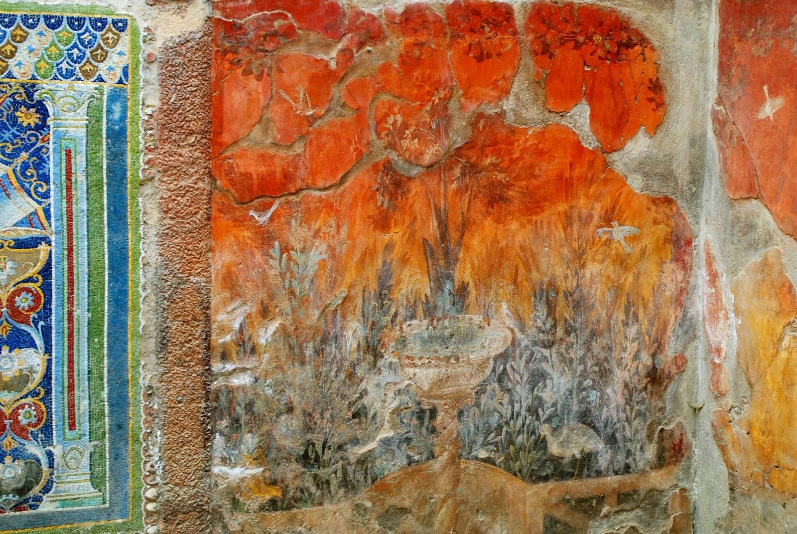 Mosaics and Frescoes in Herculaneum in Italy