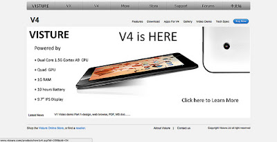 The New Chinese Tablet Visture V4 spots a 10 Inch retina Display,1.6GHz quad-core GPU and a 1GB of RAM