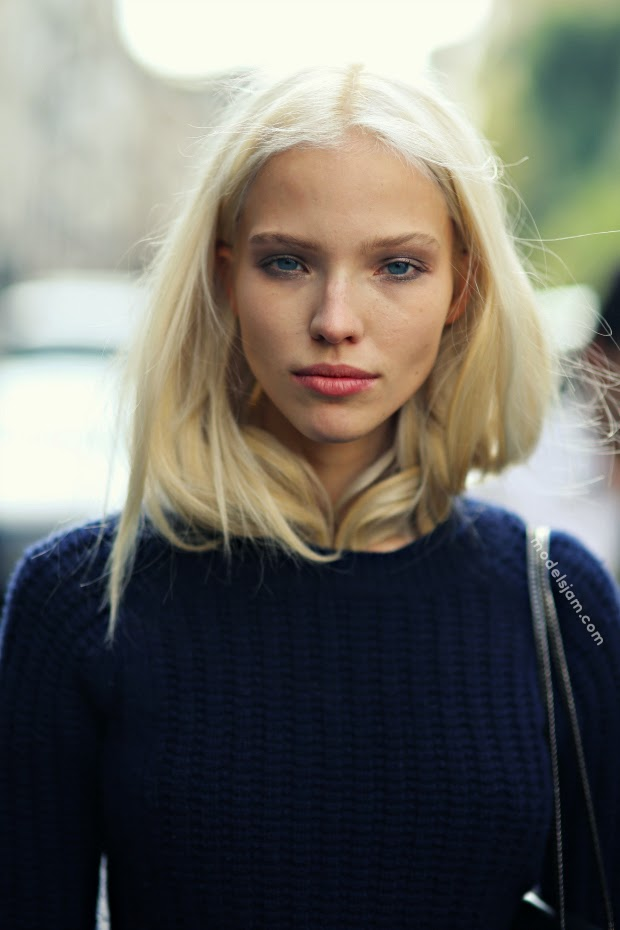 Sasha Luss after Blumarine, Milano, September 2013