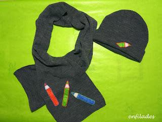 Gorro i bufanda llapis-web enfilades.cat fet a mà