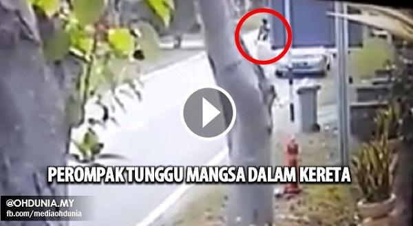 Video: Perompak Tunggu Mangsa Dalam Kereta Dengan Pisau di Johor