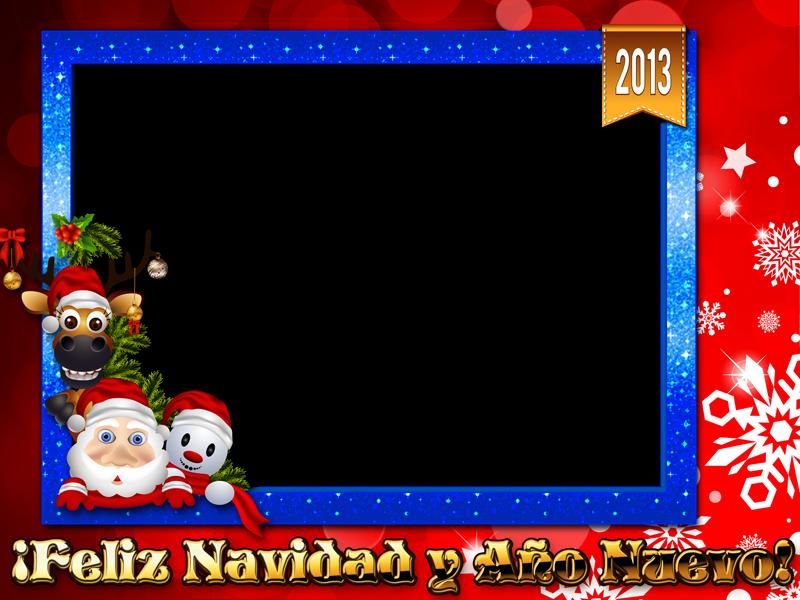 Marco creativo con personajes navideños - Marcos en psd y