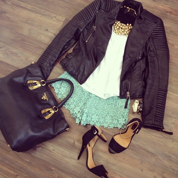 Crochet short, Ankle strap Heels, Hand Bag, Lather Jacket, Top Golden Necklace  | Outfit
