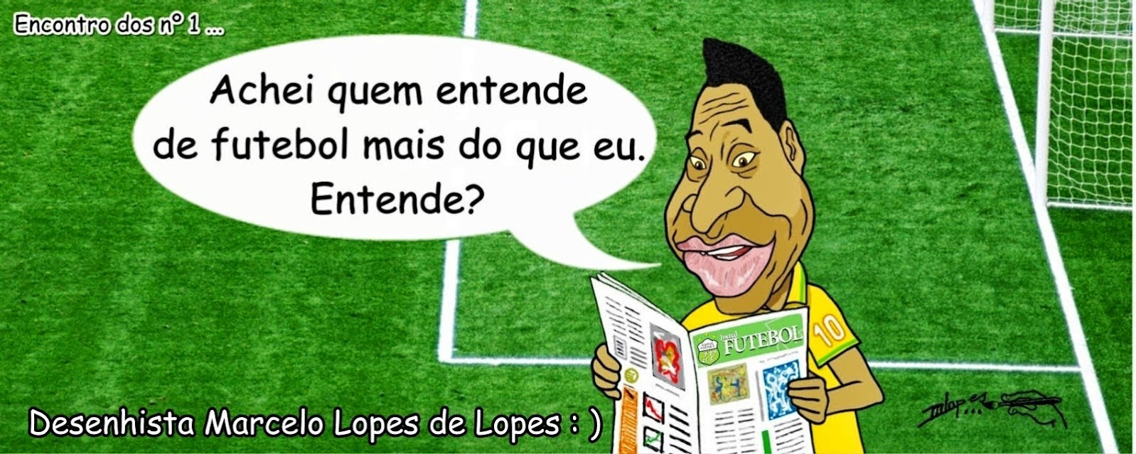 Caricatura de Pelé por Marcelo Lopes de Lopes